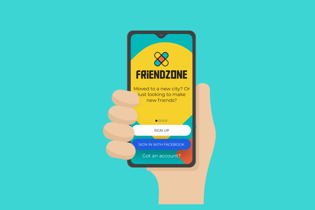 Signing up to the FriendZone app to find new friends