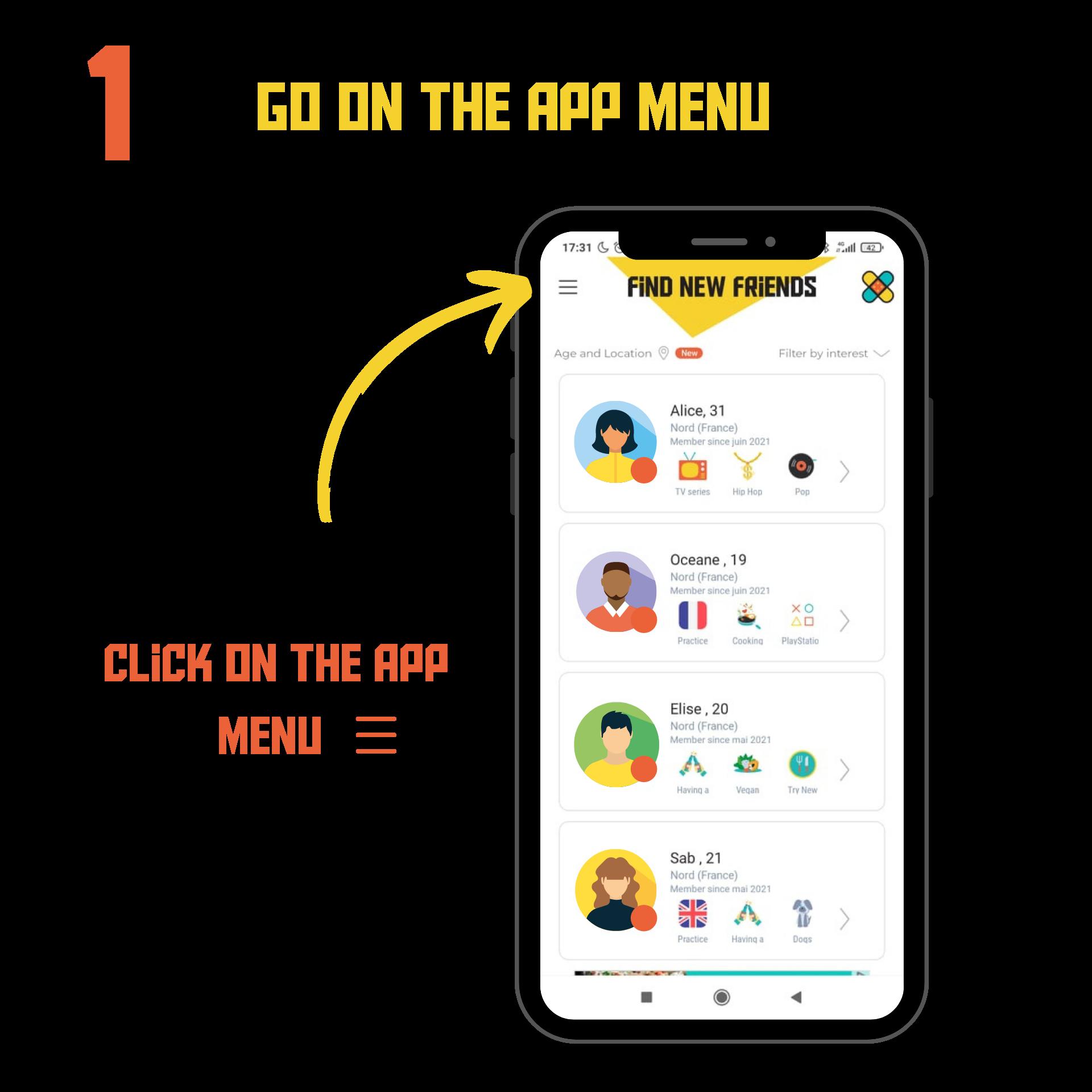 Open the app menu